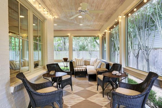 2323 Albans Rd Houston, TX 77005: Photo Another view of the screened porch with Kitchen Aid gas grill, bar sink, antique Chateau Domingue stone countertop, custom distressed wood floor, Rolling hurricane shutters: