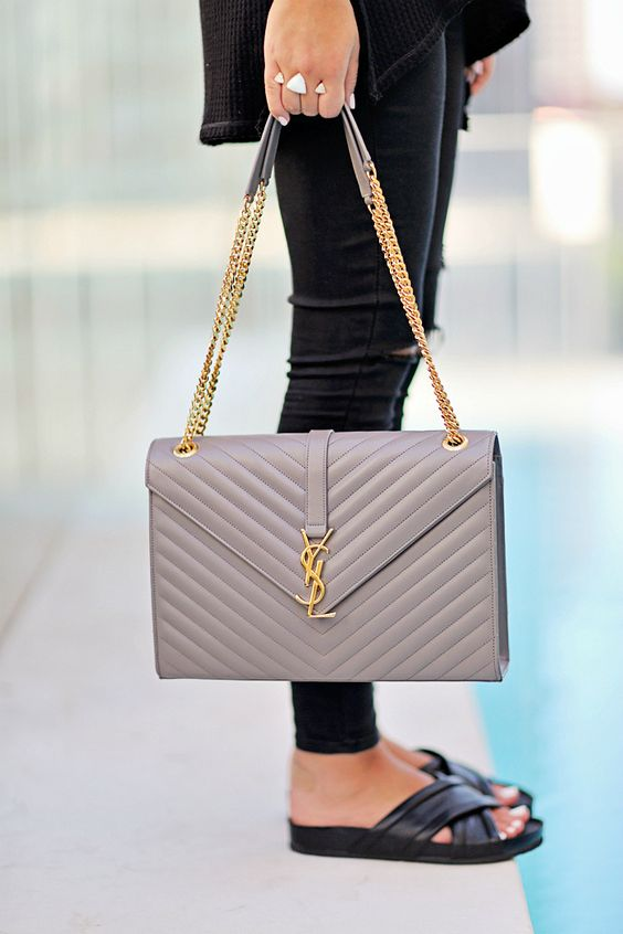 yves saint laurent leather and fabric shoulder bag