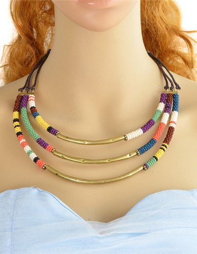 Collier multi-rangs avec perles - multicolore
