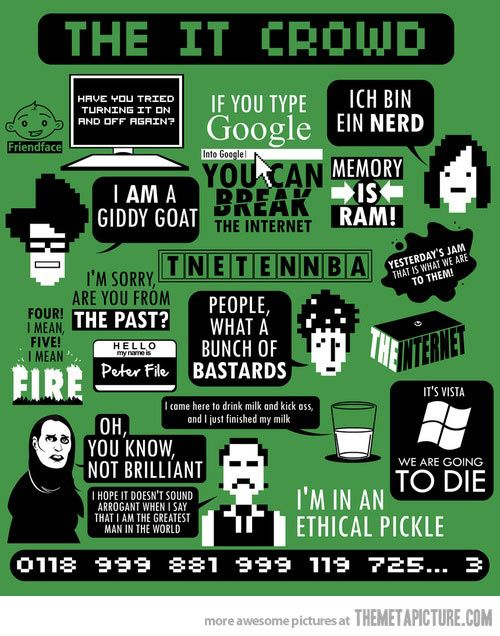 "The IT Crowd's most memorable quotes. It forgot ""Did you see that ludicrous display last night?"""