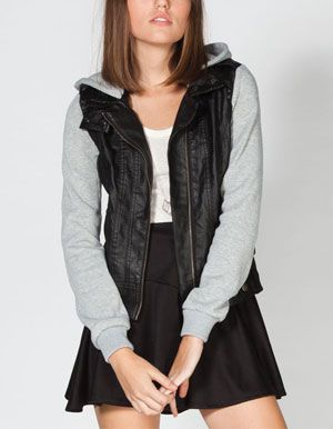 BOY MEETS GIRL Womens Fleece Sleeve Faux Leather Jacket