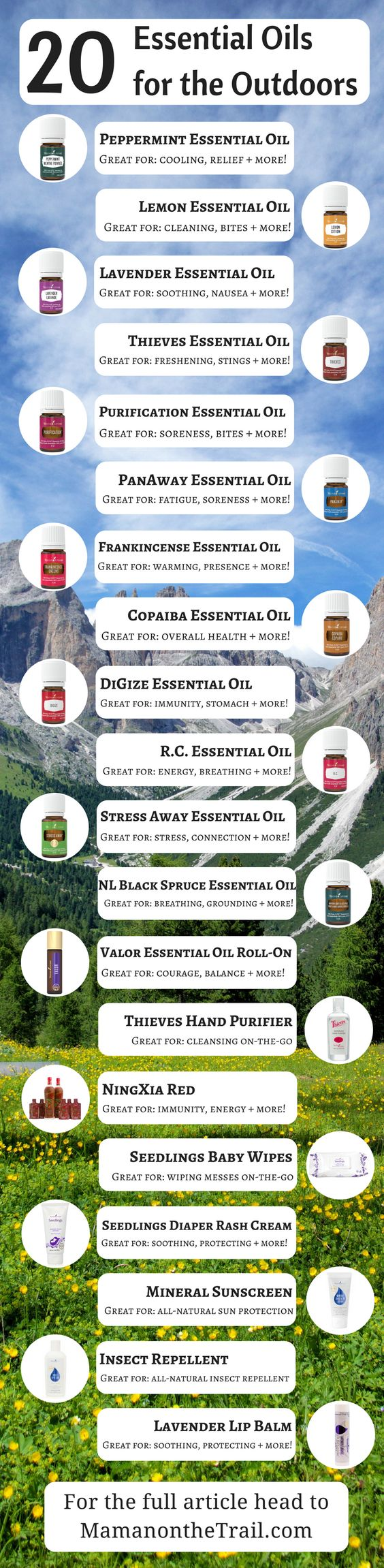 20 Essential Oils for the Outdoors – Young Living Essential Oils – Pinterest image
