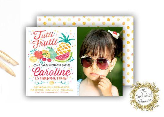 Twotti Frutti Photo Birthday Invitation - Tutti Fruity Themed Party - Fruit Invite Party Theme