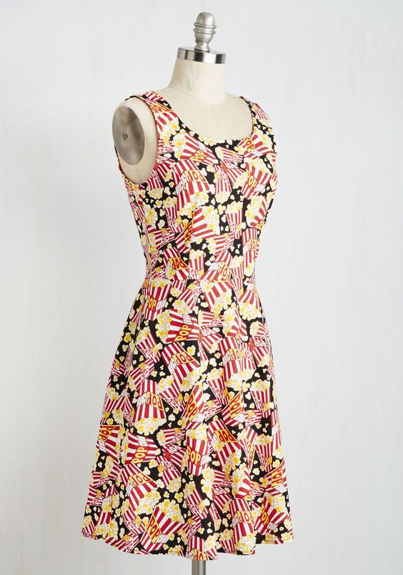 Tonight's Pop Story Dress. The headlines will herald what a terrific treat it is to spot you sporting this popcorn patterned frock! #multi #modcloth