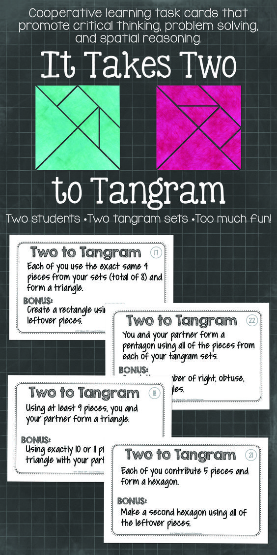 """It Takes Two to Tangram"" Cooperative learning tangrams! Activities that get will your students thinking and communicating. $:"