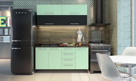 Cozinha Modulada Completa Selene Branco/Preto/Verde Claro - BRV M�veis