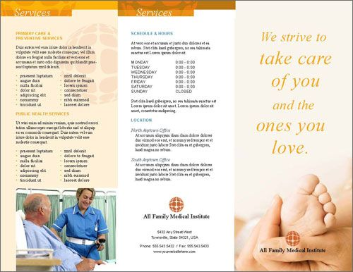 Free medical or health clinic brochure InDesign template Free - free pamphlet