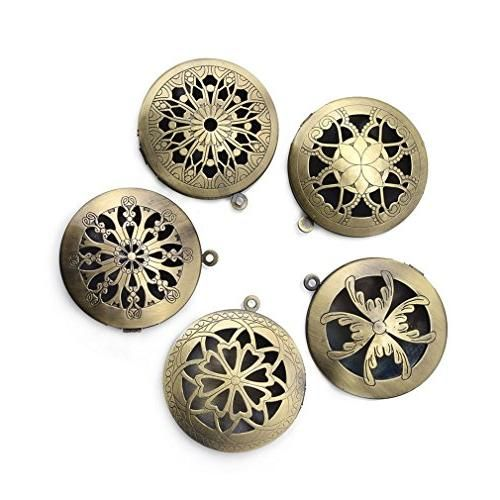 ZX Jewelry 5pcs Antique Bronze Filigree Living Memory Floating Lockets Diffuser Pendants Necklaces