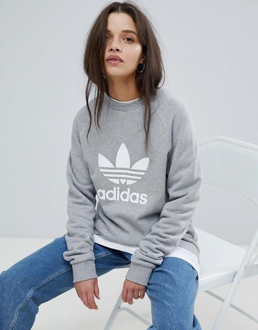 adidas Originals Trefoil Oversized Sweatshirt In Grey