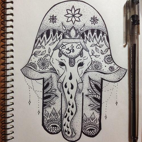Hamsa drawing google my diy pinterest for Hamsa elephant tattoo
