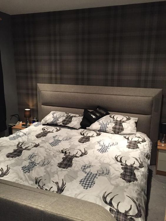 Plaid and Stags are so popular at the moment. This customer has got the look spot on using our Audrey wallpaper with their stag bedding: