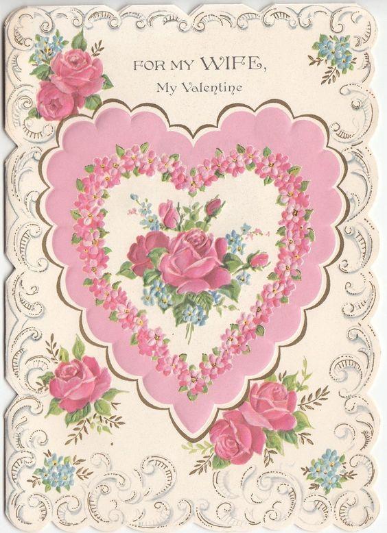 Vintage Norcross Embossed Heart Roses Flowers Pink Wife Valentine Greeting Card | eBay