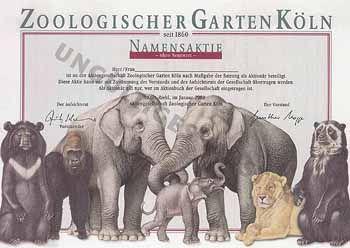 AG Zoologischer Garten in Köln Namensaktie o.N. Jan. 2002 (Muster, R 9).