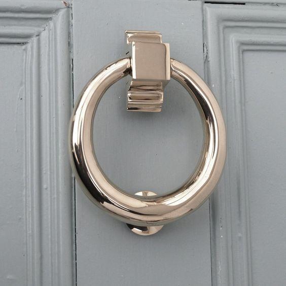 Polished nickel hoop door knocker at willow and stone front doors pinterest blue doors - Door knocker nickel ...