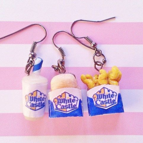 **Comes with a free dust plug! Choose any of the three pictured. Send me a note.If you do not pick one, I will give you a random one.**    *This is a listing for one pair of earrings.*    Each earring is finely detailed; the fries will look crispy and golden and each hamburger will have some onio...