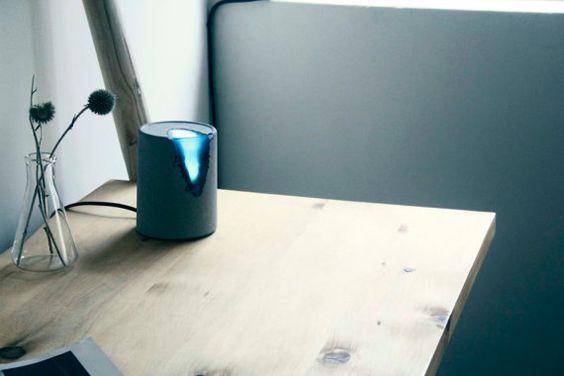 Handgemachte konkrete Lampe Blue Lagoon von Damplamp auf Etsy