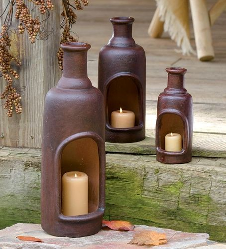 Large Ceramic Mexican Candle Chimney With Candle from Plow & Hearth on shop.CatalogSpree.com, your personal digital mall.
