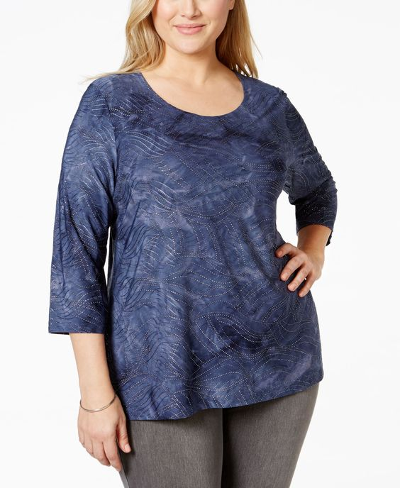 Jm Collection Plus Size Studded Wave-Design Top, Only at Macy's