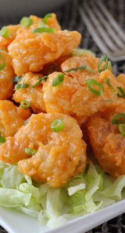 Spicy bang bang shrimp. Shrimp:  Oil, for frying  2 1/2 lbs shrimp (I use large or jumbo, Bonefish Grill uses small)  4 eggs  1 1/2 cups flour  1 cup cornstarch  2 teaspoons salt, 1 teaspoon pepper  Sauce:  3/4 cup mayonnaise  1/2 – 1 1/2 Tablespoons Asian chili sauce, depending on how spicy you like your food  1 Tablespoon honey  salt  1 small garlic clove, minced, optional