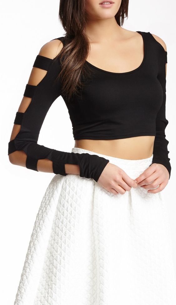 Long Sleeve Cut Out Top // Flare Skirt. Tried this, turned out awesome!!!