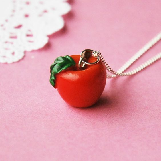 adorable apple necklace