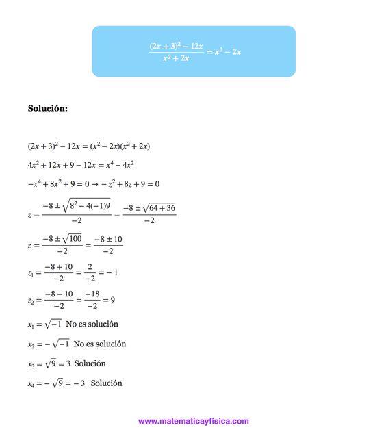 Ejercicio resuelto de ecuaciones bicuadradas