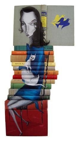 Pinturas Sobre Libros  ilustració  original   libros