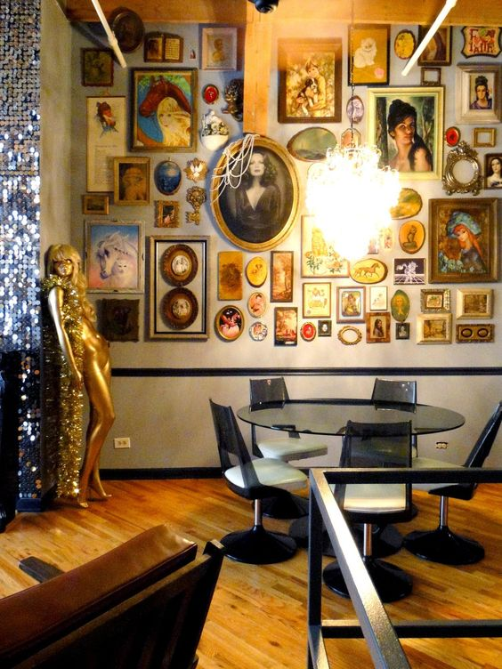 Shaun & Matt's Glam Loft -- Now that's what we call a well-done wall art gallery! || apartmenttherapy.com: Gallery Apartmenttherapy, House Tours, Dining Room, Decor Ideas, Glam Loft, Decorating Ideas, Living Room, Art Wall, Interiors Apartment Therapy