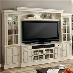 Charlotte 4 Piece 72 Inch Entertainment Wall in Antique Vintage White Finish by Parker House – CHA-172-4