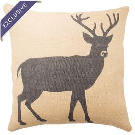 "Burlap pillow with a deer motif. Handmade in the USA.  Product: PillowConstruction Material: BurlapColor: Black and beigeFeatures:  Handmade by TheWatsonShop exclusively for Joss & MainZipper enclosureInsert included Made in the USADimensions: 16"" x 16""Cleaning and Care: Spot clean"