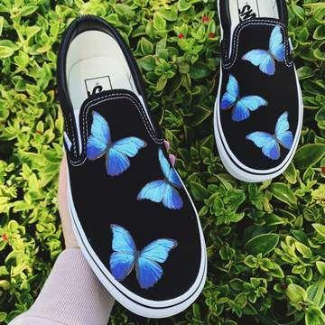 Blue Butterfly Black Slip On   Vans