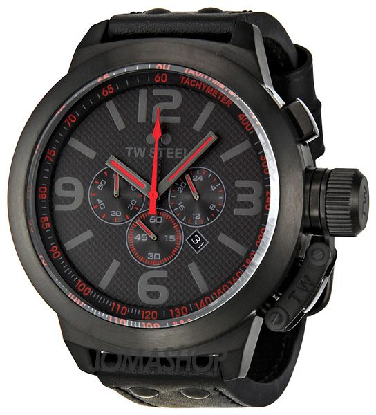 TW Steel Canteen Cool Black And Red Chronograph Mens 50mm Watch