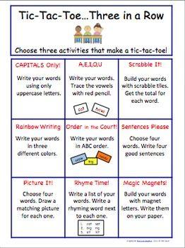 WORD WORK CHOICE BOARD FOR LITERACY CENTER - TeachersPayTeachers ...