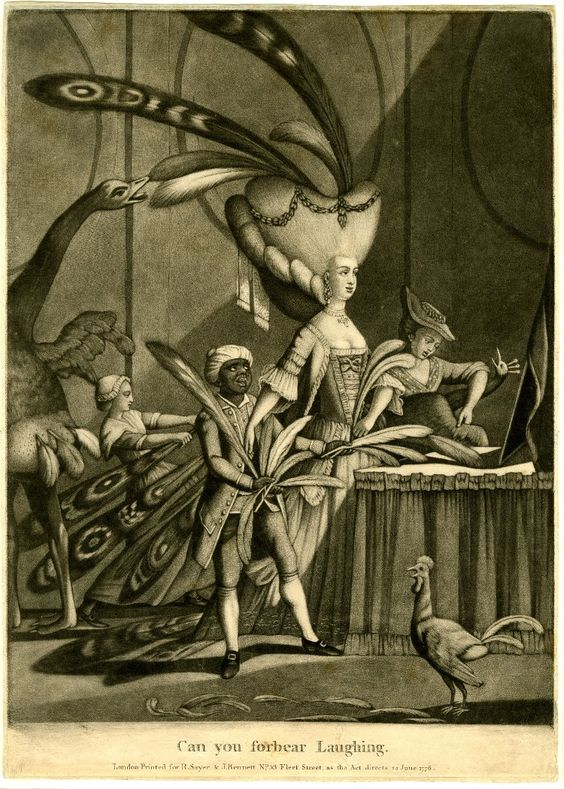 'Can you forbear laughing', 1776, mezzotint by Philip Dawe, published by Sayer & Bennett. The price to pay for an elegant lady's headdress: an ostrich and a rooster stand by with plucked-bare bottoms while two maids denude a peacock of its tail feathers.