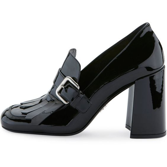Prada Patent Leather Kiltie 85mm Pump ($840) ❤ liked on Polyvore featuring shoes, pumps, patent leather loafers, patent leather shoes, high heel loafer pumps, loafer shoes and prada pumps