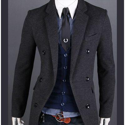 Mens Winter Coat Cashmere Peacoat Woolen Double Pea Coat Men Slim