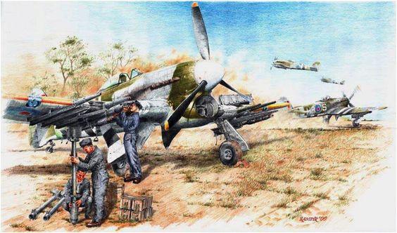 The target- Falais pocket !. Hawker Typhoon Mk. Ib aprestandose para el ataque. Pavel Rampir