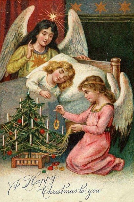Angel Christmas Cards 2020 Free Vintage Christmas Angel Cards in 2020 | Christmas postcard
