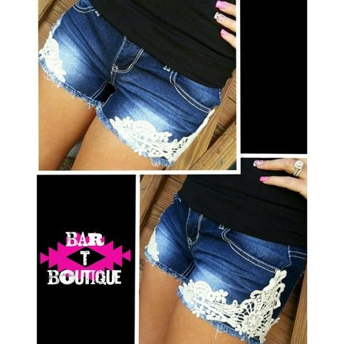 Dark Denim Lace Shorts from Bar T Boutique $36