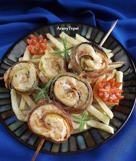 AranyTepsi: Cukkinis-baconös csirketekercsek nyárson