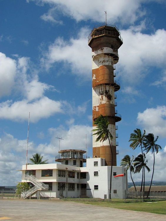 Ford Island Control Tower, Pearl Harbor - The abandoned control tower that stood long neglected on Ford Island was originally built in 1941, all but brand new when it would oversee – and miraculously survive – Japans attack on Pearl Harbour.  The tall, slender radio control tower was outfitted with an observation deck and air traffic control center.