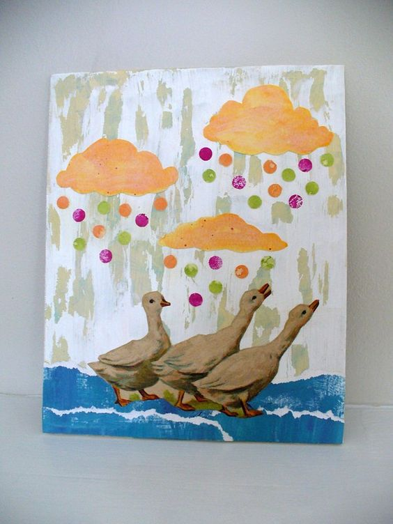 mixed media collage original childrens nursery by MessyBedStudio, $35.00