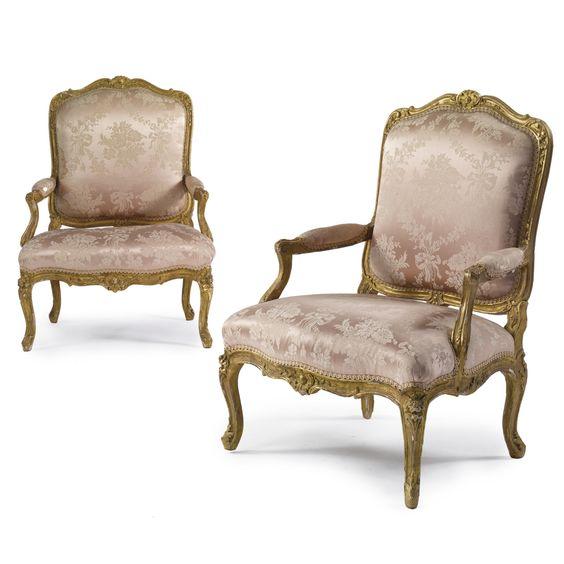 A pair of Louis XV carved giltwood fauteuils à la reine<br>circa 1750   lot   Sotheby's