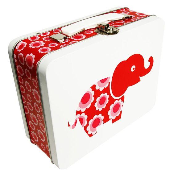 Große Lunchbox red elephant mit Griff aus Metall von Blafre