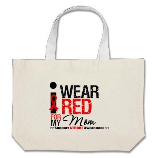 Stroke Awareness I Wear Red Ribbon For My Mom Canvas Bag by giftsforawareness.com #StrokeAwareness #StrokeAwarenesstotebags
