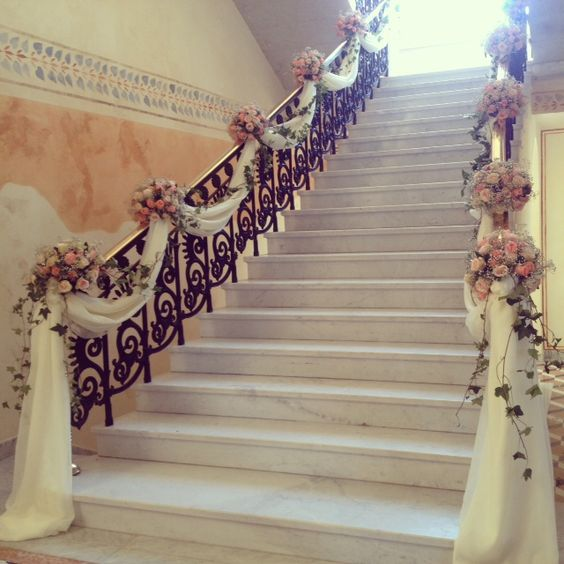 wedding staircase decorations staircase decoration memorable weddings 1163