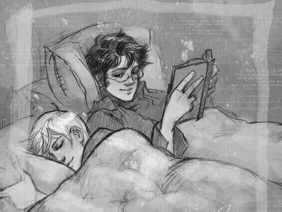 Imagine Draco reading late one night and Harry just watching Draco through half-opened eyes acting like he's sleeping and watching Draco read and his expressions.: