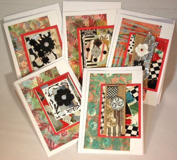 Red & Black Blank Card Set by ColorUtopia on Etsy