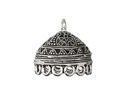 Antique Pewter Lace Dome Tassel Cap w/ Loops 20mm