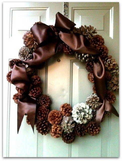 Pine Cone Ribbon wreath